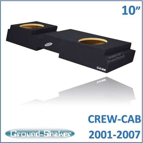 "GS-QCHV210B <br> BLACK 10"" DUAL SEALED SUB BOX, FITS CHEVY SILVERADO & GMC SIERRA CREW-CAB 2001-2007"