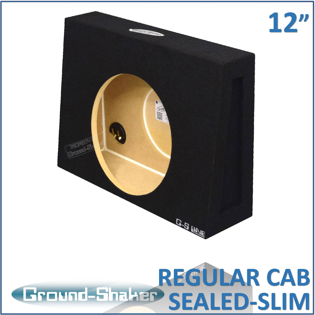 "RC-STS112B <br> BLACK 12"" SINGLE SEALED EXTRA SLIM SUB BOX, FITS REGULAR CAB TRUCKS"