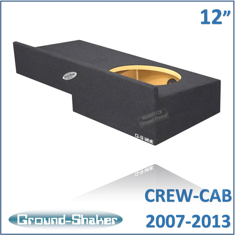 "GS-RCHV112B <br> BLACK 12"" SINGLE SEALED SUB BOX, FITS CHEVY SILVERADO & GMC SIERRA CREW-CAB 2007-2013"