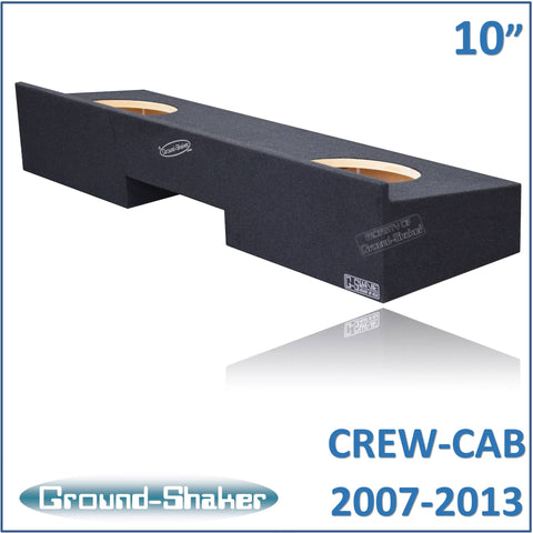 "GS-RCHV210B <br> BLACK 10"" DUAL SEALED SUB BOX, FITS CHEVY SILVERADO & GMC SIERRA CREW-CAB 2007-2013"