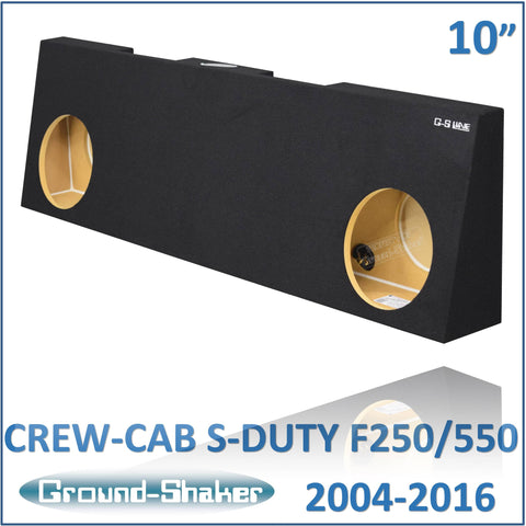 "GS- RF250210B <br>BLACK 10"" DUAL SEALED SUB BOX, FITS FORD F250 TO F550 SUPER DUTY CREW-CAB WITH OR WITHOUT POWER WINDOWS 2004-2016"