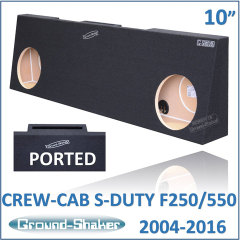 "GS-RF250P210B <br> BLACK 10"" DUAL PORTED SUB BOX, FITS FORD F250 TO F550 SUPER DUTY CREW-CAB WITH OR WITHOUT POWER WINDOW 2004-2016"