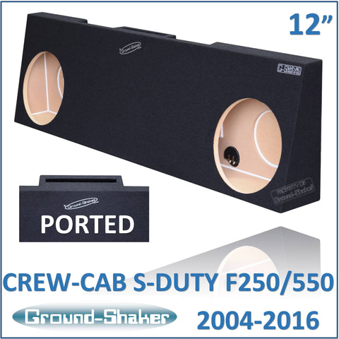 "GS-RF250P212B <br> BLACK 12"" DUAL PORTED SUB BOX, FITS FORD F250 TO F550 SUPER DUTY CREW-CAB WITH OUR WITHOUT POWER WINDOW 2004-2016"