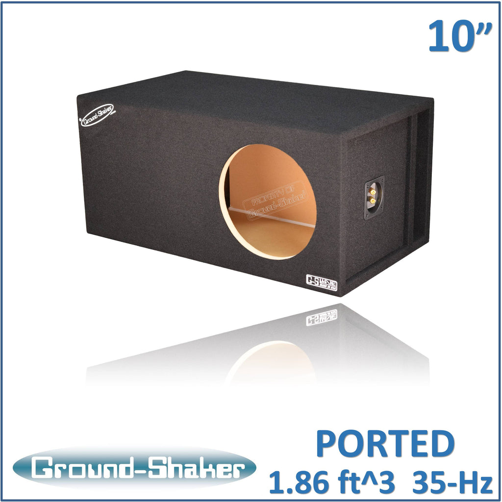 "GS-SQPXL110B <br> BLACK 10"" SINGLE PORTED EXTRA LARGE SUB BOX"