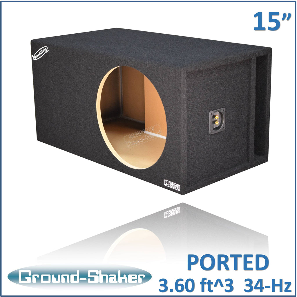"GS-SQPXL115B <br> BLACK 15"" SINGLE PORTED EXTRA LARGE SUB BOX"