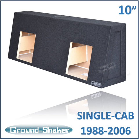 "CHV-STKK210B <br> BLACK 10"" DUAL SEALED SUB BOX, FITS CHEVY SILVERADO & GMC SIERRA REGULAR-CAB 1988-2006"