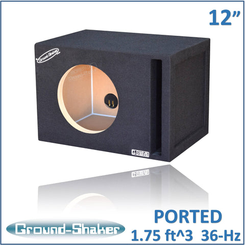 "GS-W7P112B <br> BLACK 12"" SINGLE REINFORCED PORTED SUB BOX"