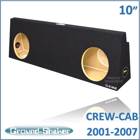 "GS-WCHV210B <br> BLACK 10"" DUAL SEALED SUB BOX, FITS CHEVY SILVERADO & GMC SIERRA CREW-CAB 2001-2007"