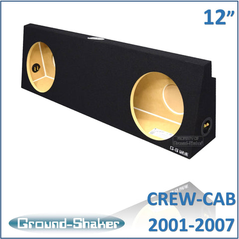 "GS-WCHV212B <br> BLACK 12"" DUAL SEALED SUB BOX, FITS CHEVY SILVERADO & GMC SIERRA CREW-CAB 2001-2007"