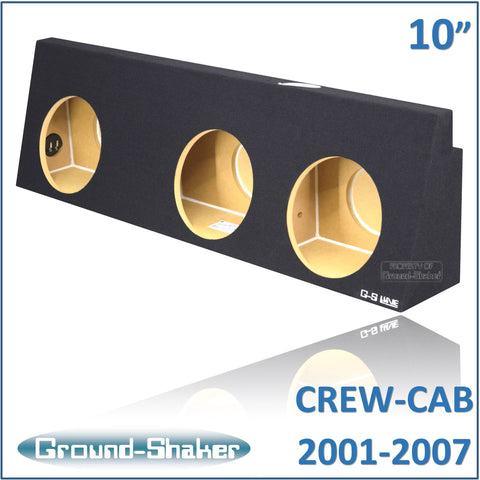 "GS-WCHV310B <br>BLACK 10"" TRIPLE SEALED SUB BOX, FITS CHEVY SILVERADO & GMC SIERRA CREW-CAB 2001-2007"