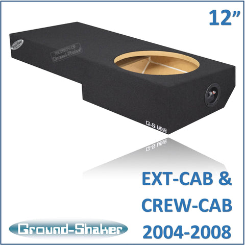 "GS-ZF150112B <br> BLACK 12"" SINGLE SEALED SUB BOX, FITS F-150 EXT-CAB & CREW-CAB 2004-2008"