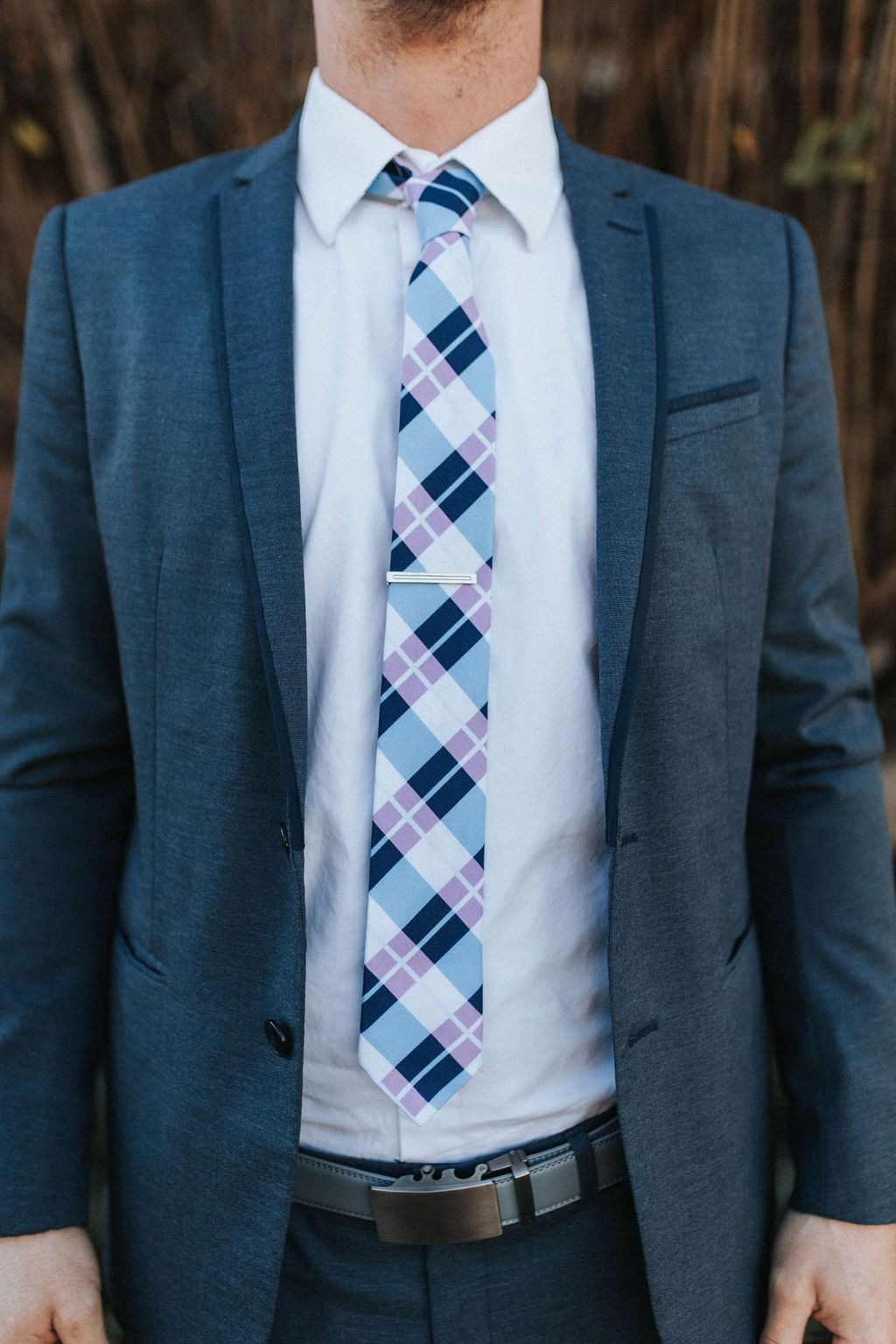 Page - Blue, White and Pink Plaid Tie