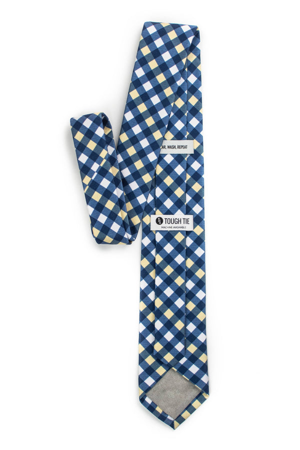 blue and yellow gingham tie back view