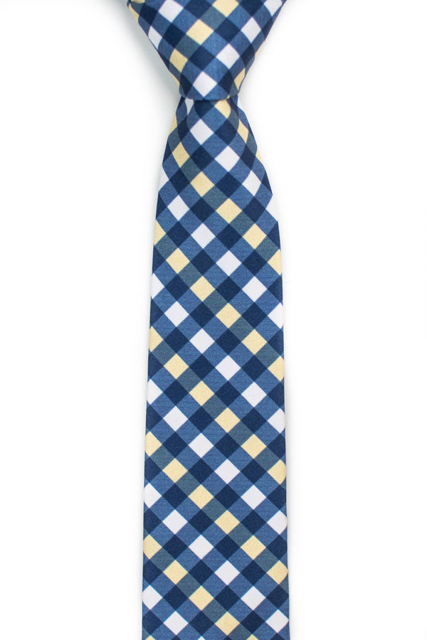 yellow and blue gingham tie front view tough apparel