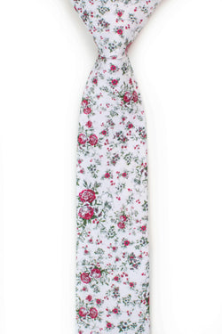 white floral tie with red roses front view