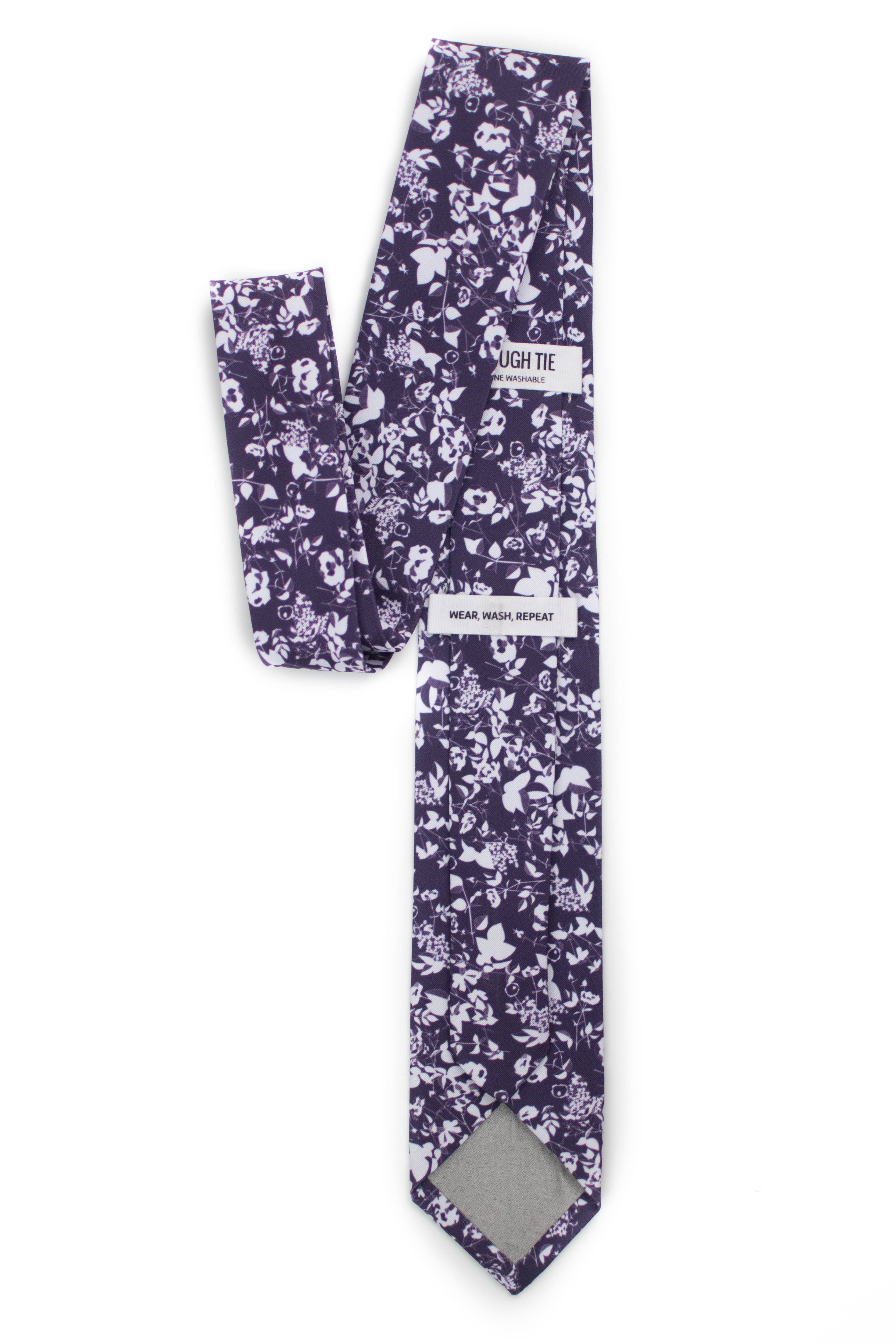 Back of Floral Plum Silhouette Tie