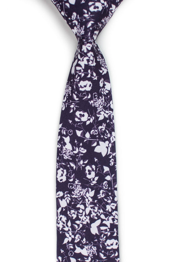 Plum Floral Silhouette Tie Front View