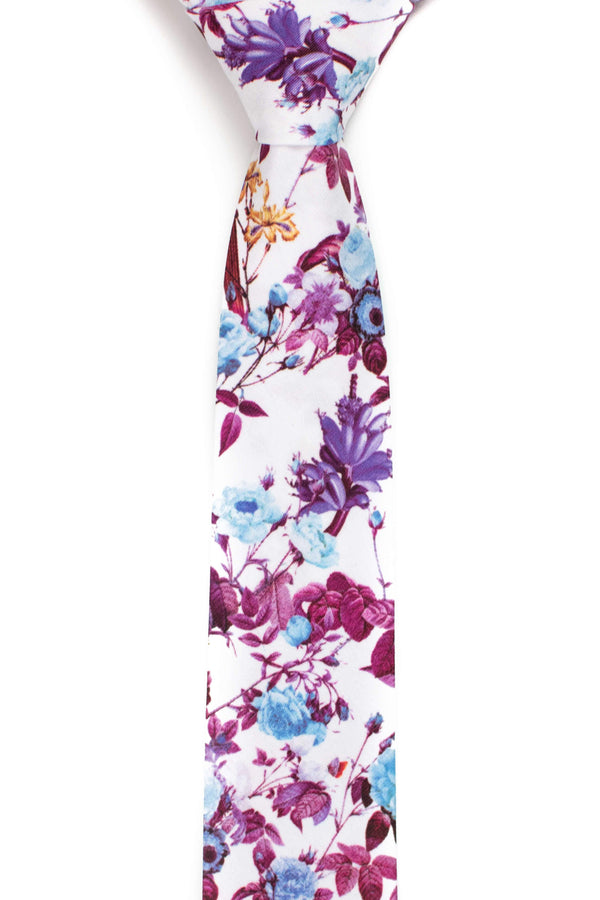 front view of purple and white floral tie