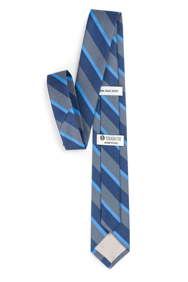 back view of grey and navy striped tie tough apparel