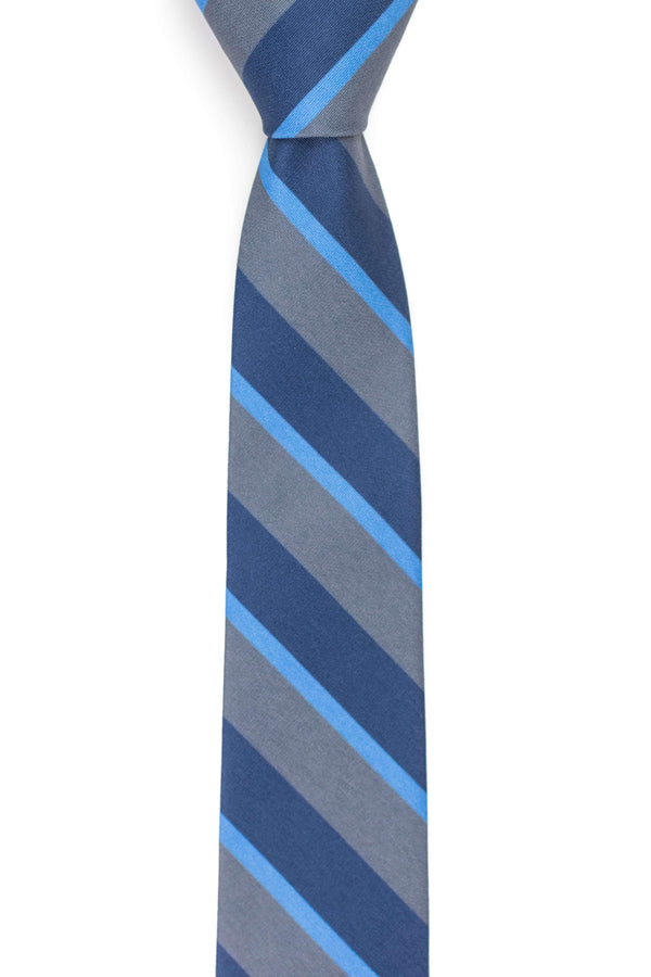 grey and navy striped tie front view