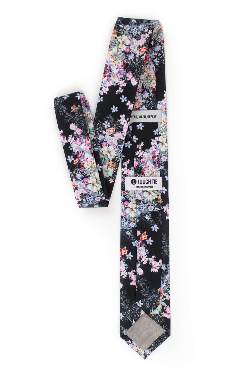 back view of spring black floral tie