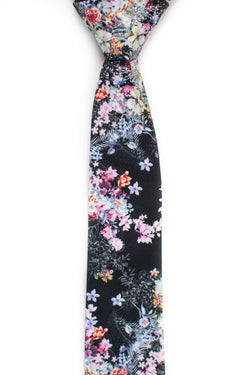 front view of spring black floral tie tough apparel