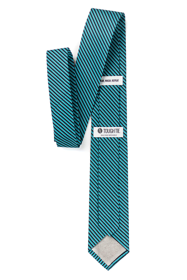 back view of green and black striped tie tough apparel