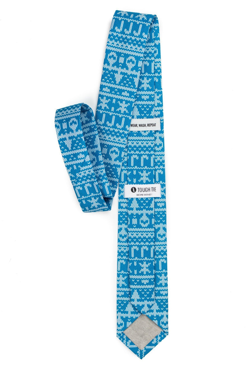 My grandma knit this blue ugly Christmas sweater tie | Boy's - Tough Tie