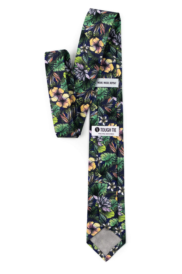 back view of green tropical floral tie from tough apparel