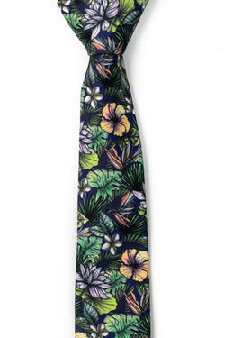 green tropical floral tie tough apparel