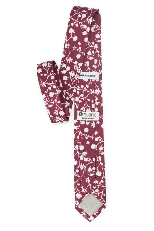 burgundy tie with white flowers back view