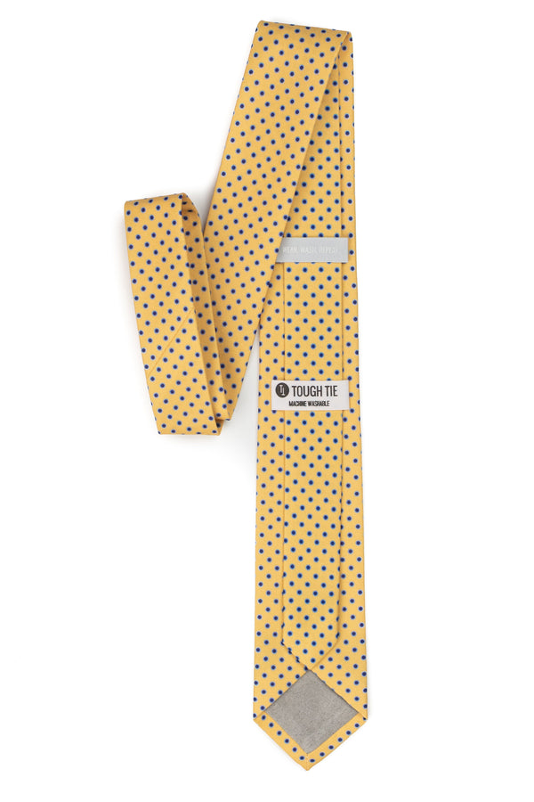 yellow polka dot tie with navy dots
