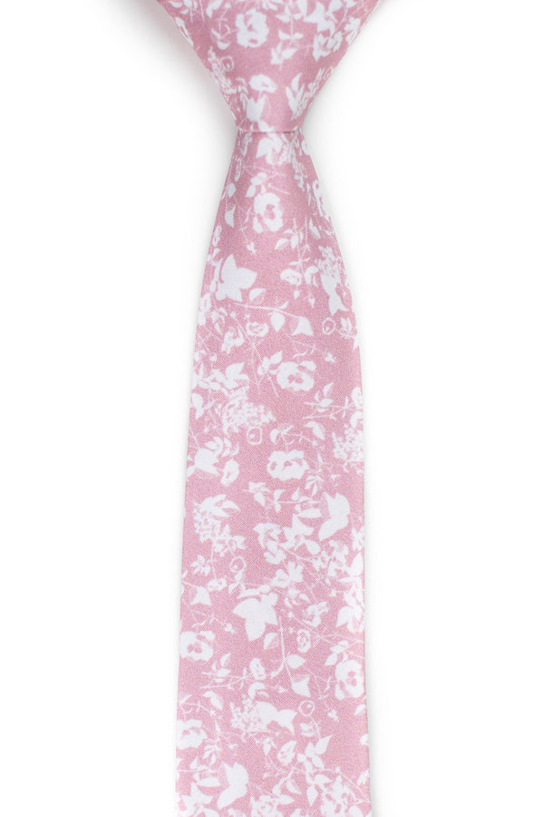 Floral Silhouette Blush Tie Front View