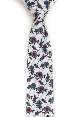 red and blue plaid floral tie front view
