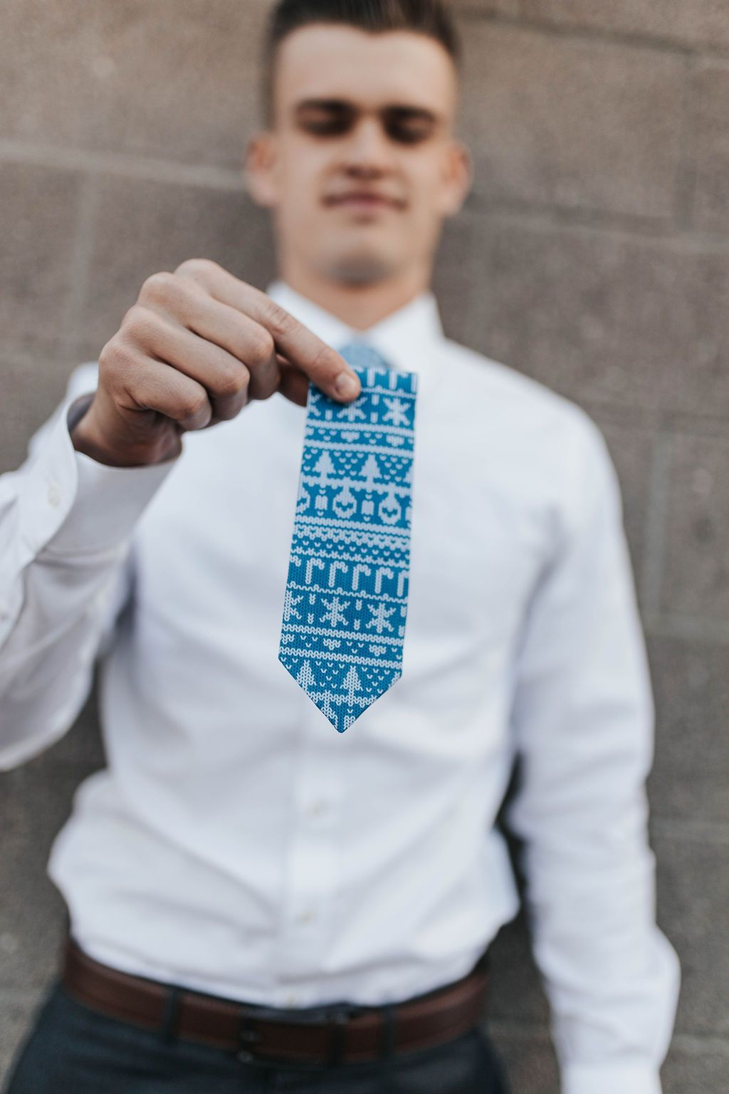 My grandma knit this Blue Ugly Christmas Sweater Tie - Tough Tie