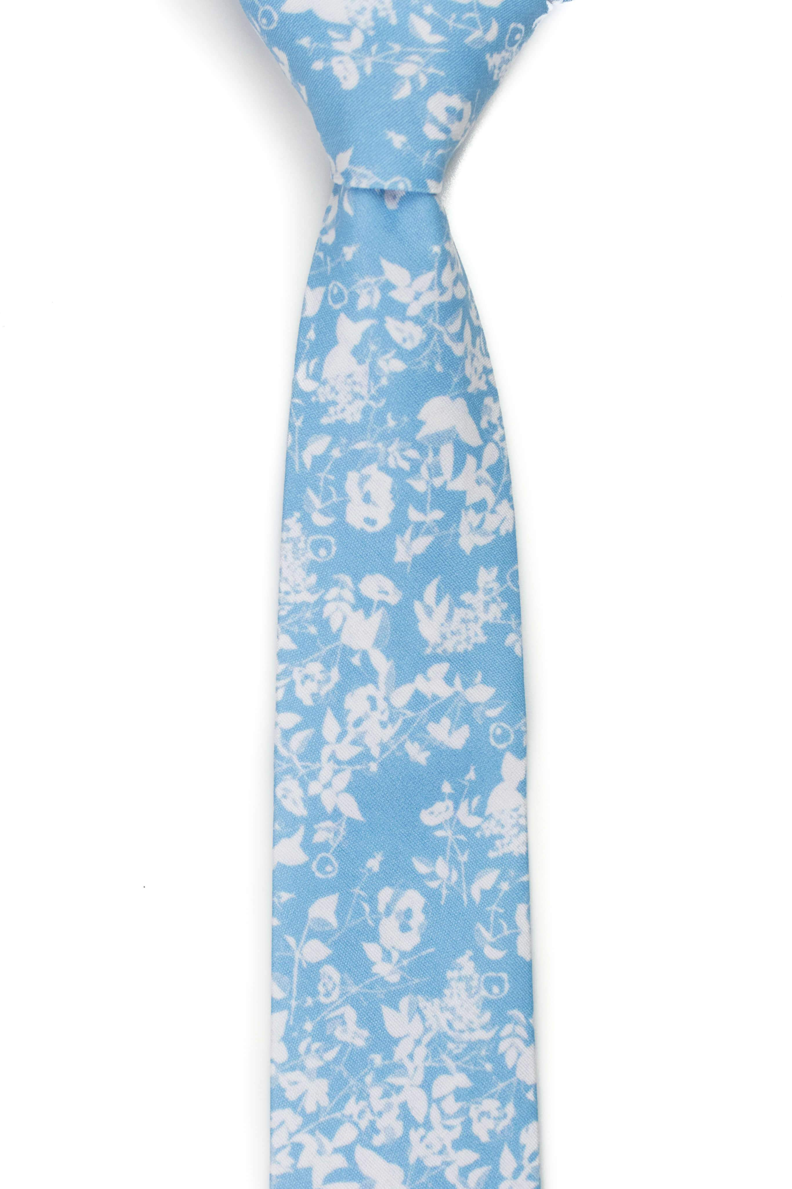 ice blue floral tie front view