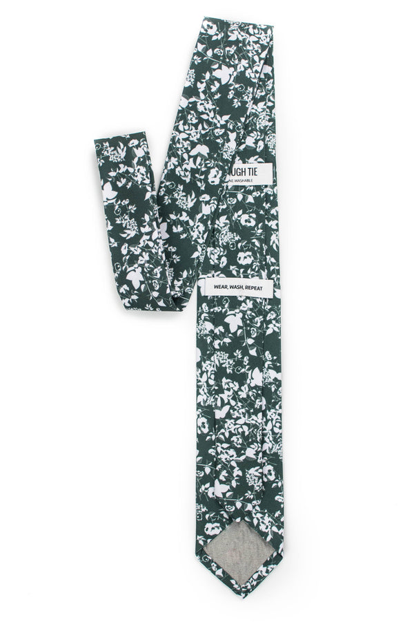 back view of forest green floral tie