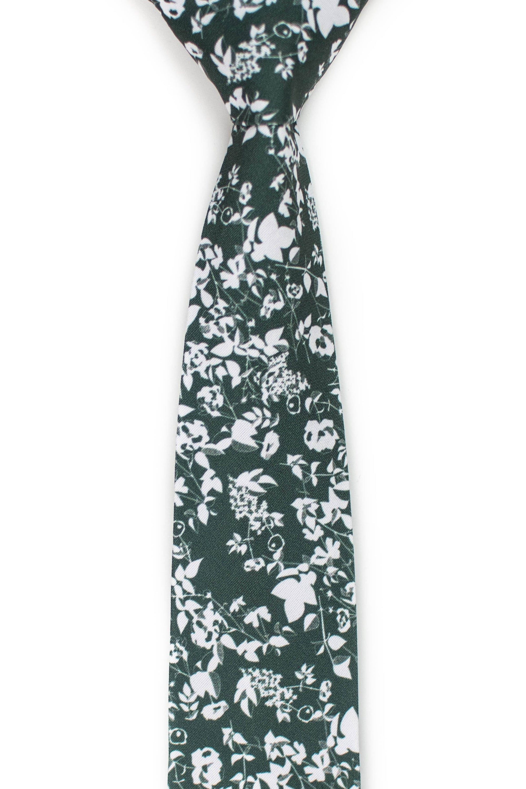 Floral forest green tie front view