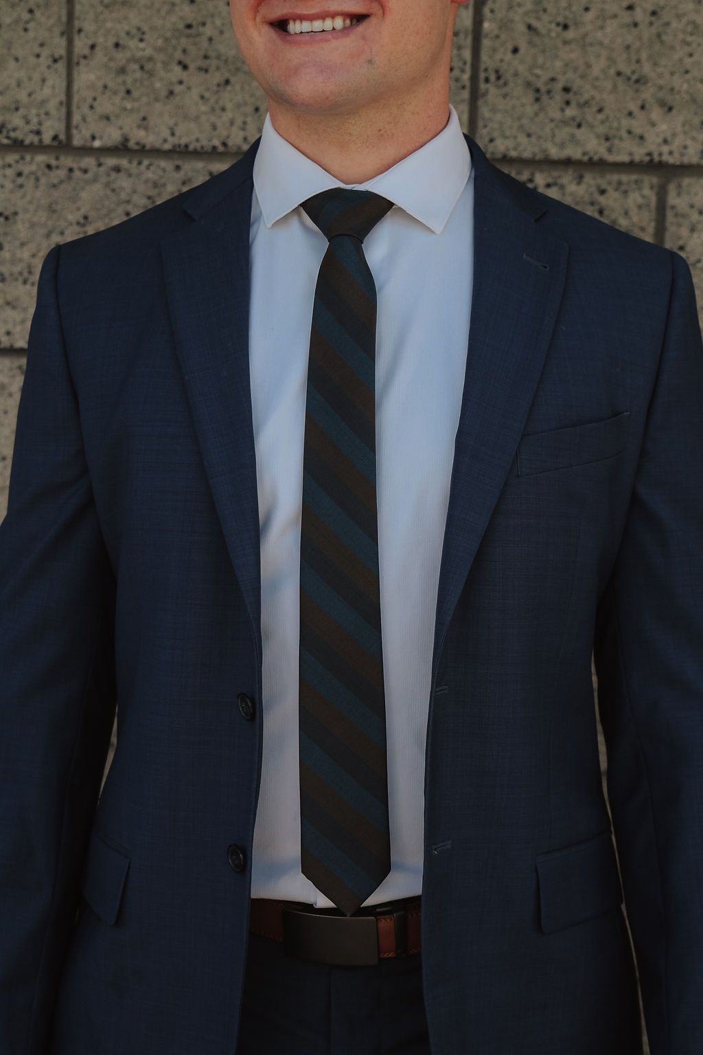 Kutcher - Blue and Brown Striped Tie