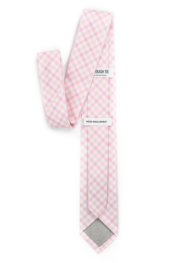 back view of light peach gingham tie