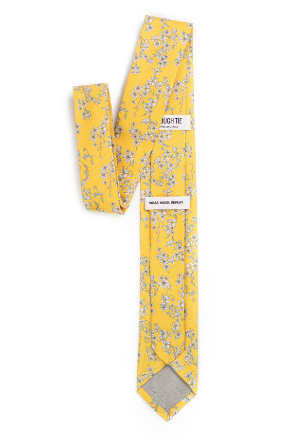 back view of yellow floral tie tough apparel