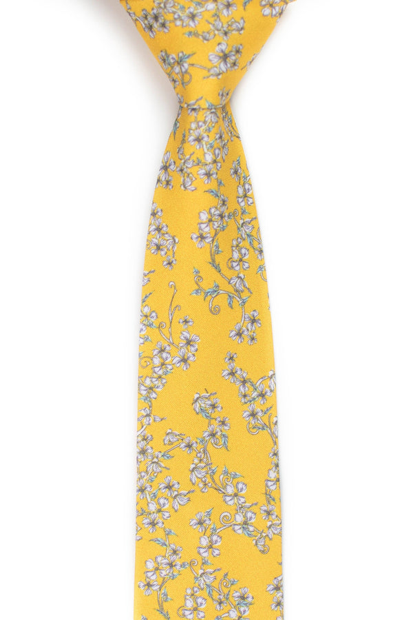 front view of marigold yellow floral tie