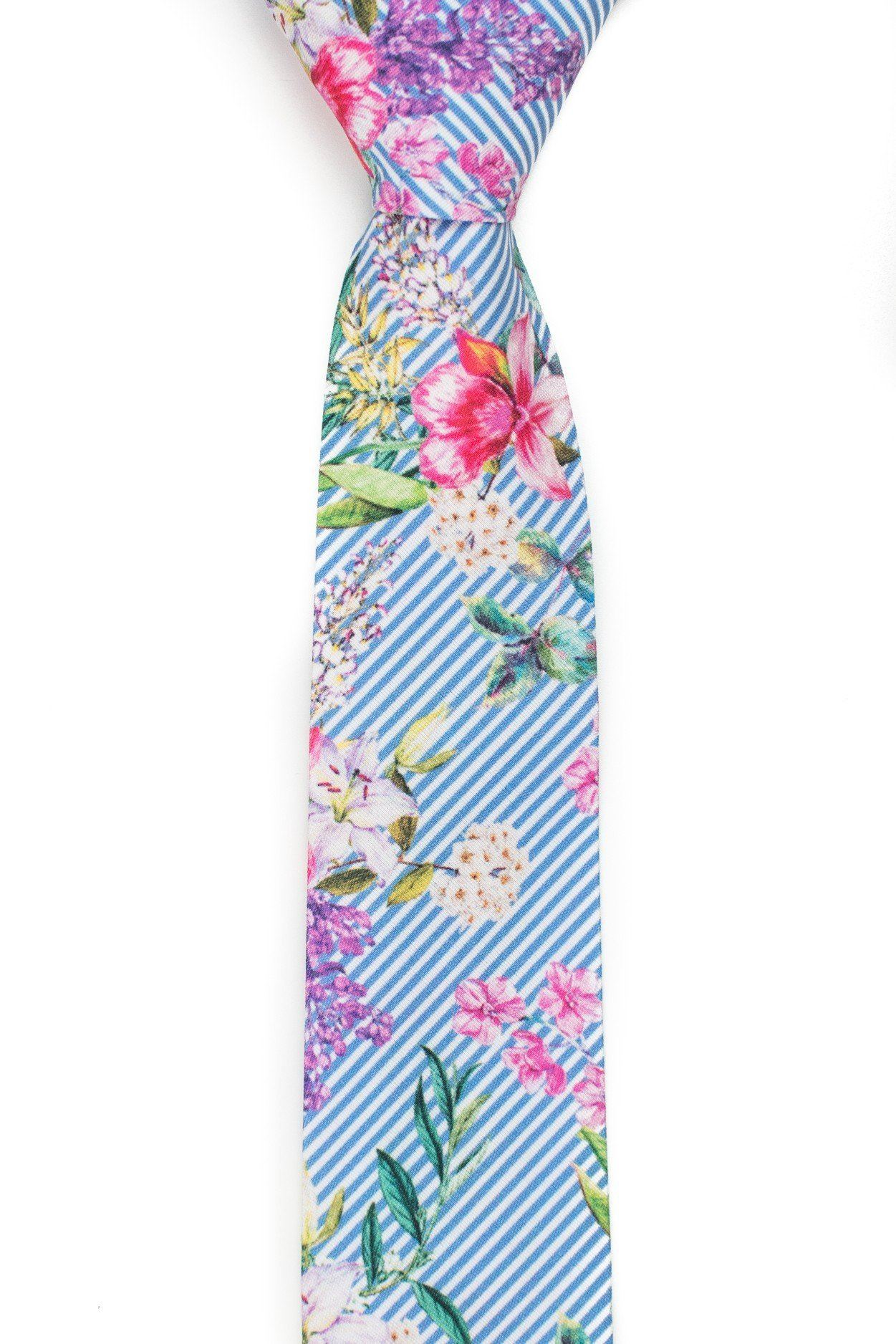 Pacific - Striped Floral Tropical Tie