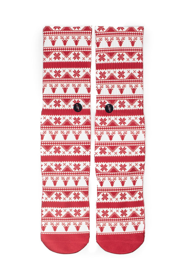 Rudolph's Journey red ugly Christmas sweater Sock - Tough Tie
