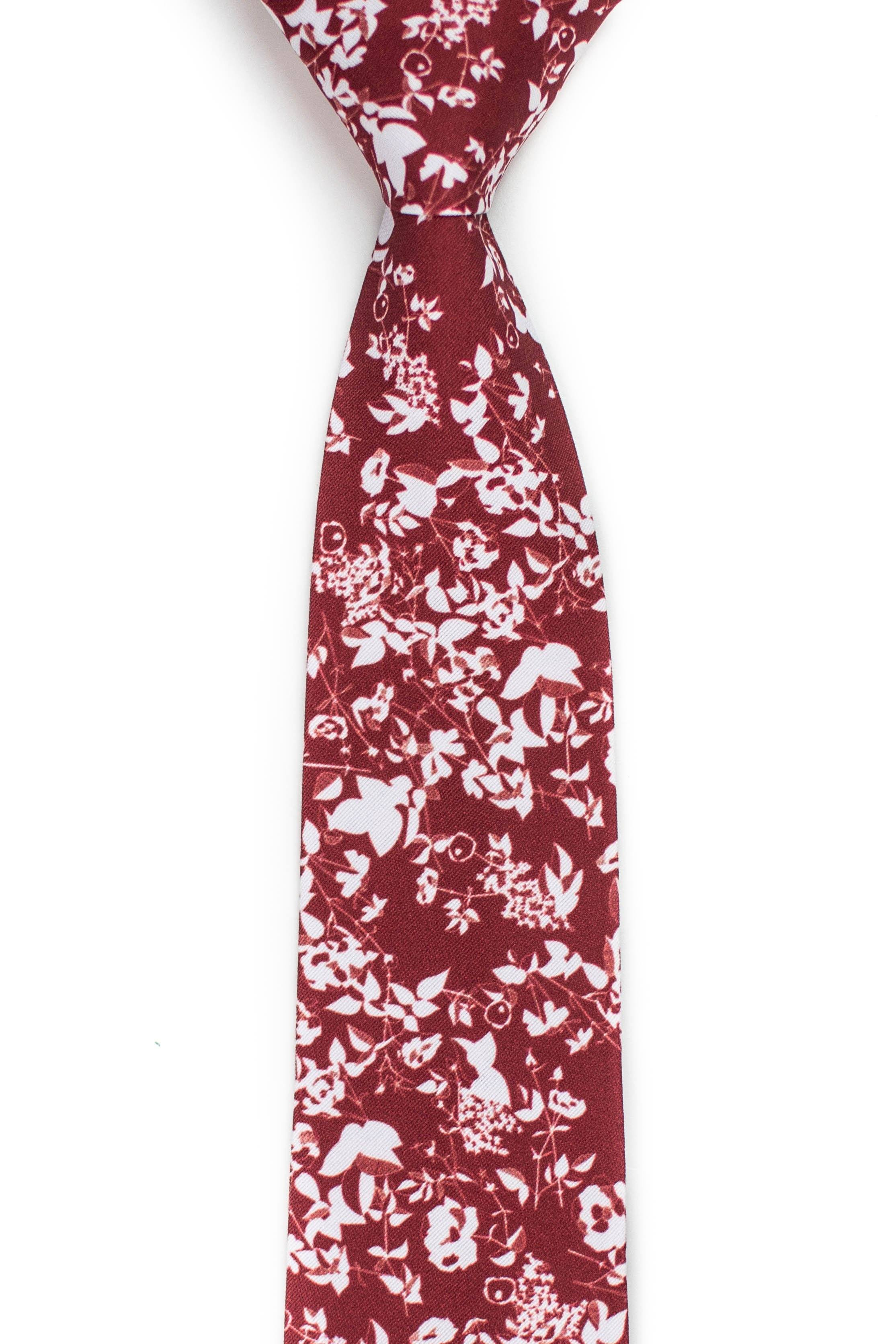 Front view of crimson red floral silhouette tie
