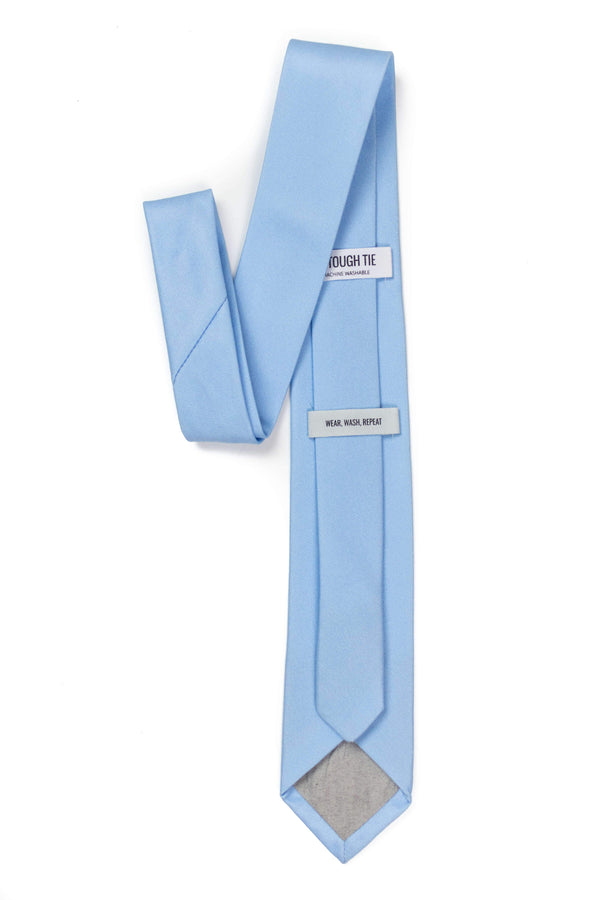 back view of sky blue tie