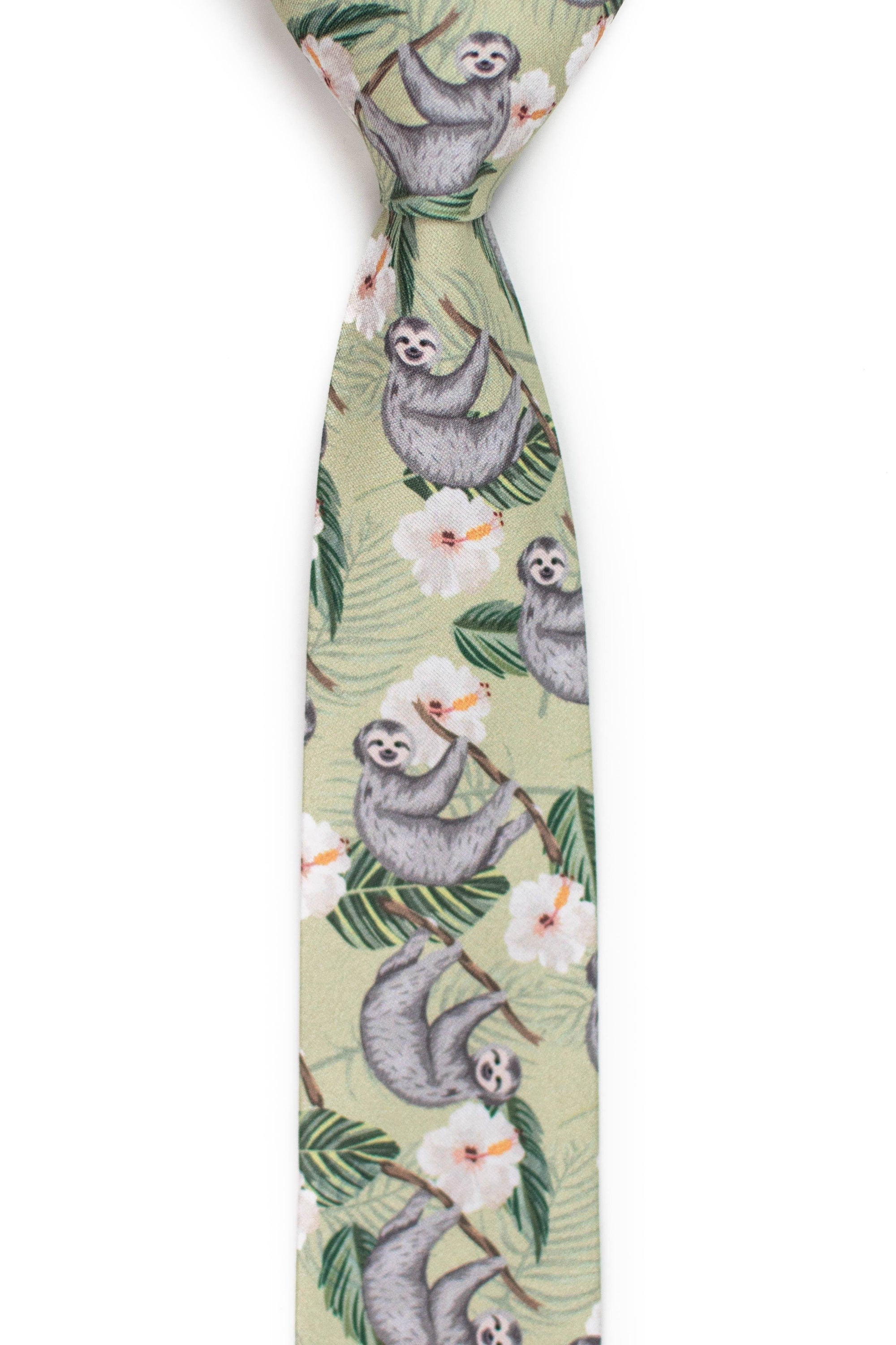front view of tropical sloth tie