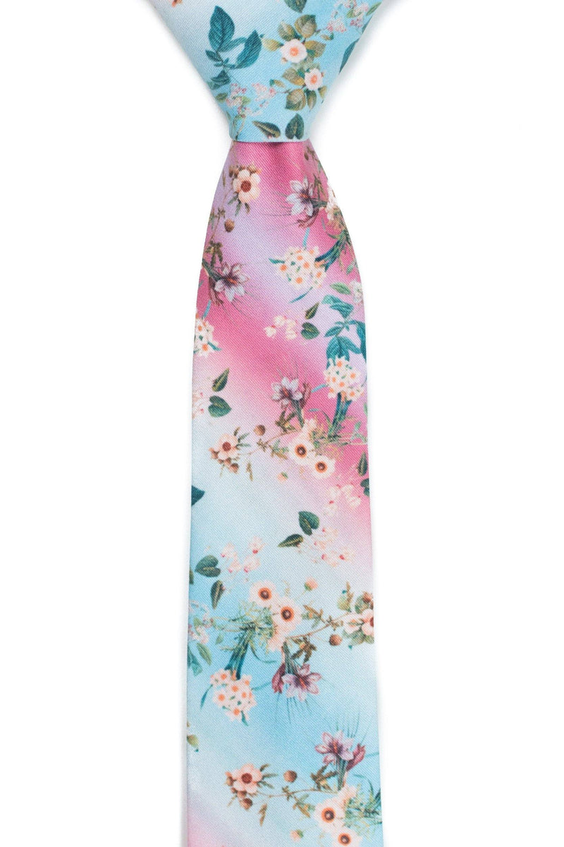 blue and pink floral tie front view