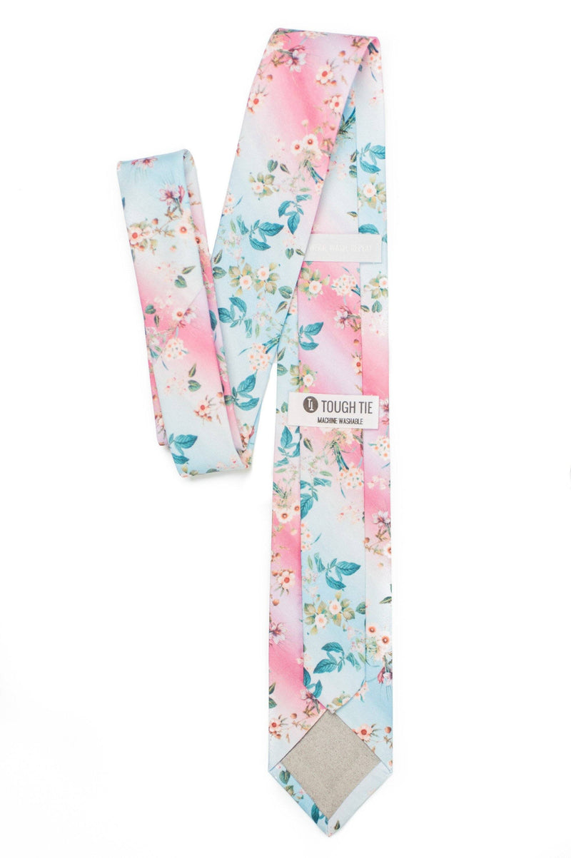 pink and blue floral tie back view