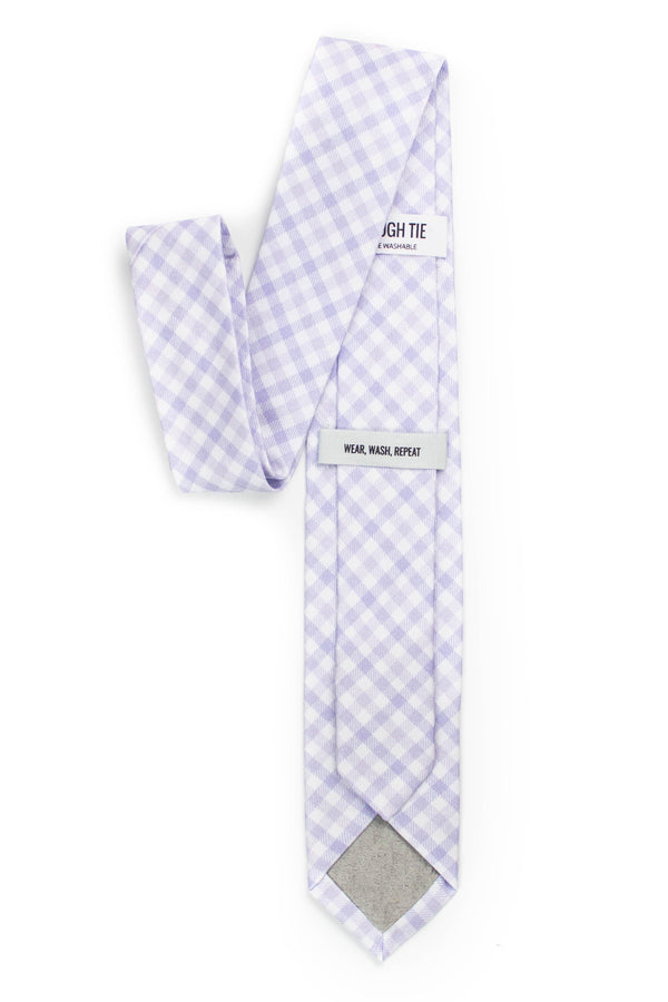 back view of light purple gingham tie tough apparel